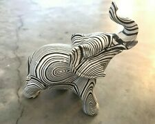 Glass Elephant Figurine Painted Black & White Stripes Abstract - Great Condition