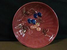 Antique G Zell S Germany Majolica Embossed Basketweave Fruit Burgundy Plate