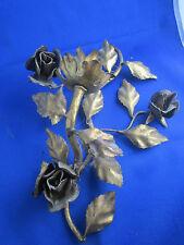 ancienne applique murale en metal doré vintage fleur roses