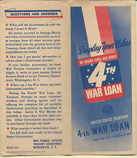 1944 UNITED STATES TREASURY 4TH WAR LOAN BROCHURE & BOOKLET VG COND FREE SHIP
