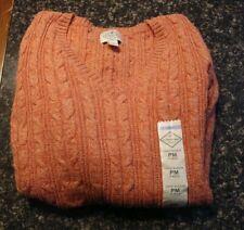 Women's Size Petite Medium Red Rose Long Sleeve V-Neck Sweater St Johns Bay NEW