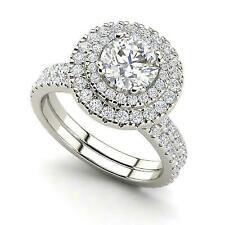 2 CT Round Diamond wedding Halo Solitaire Ring Band Set 14K White Gold