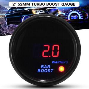 2'' 52mm Car -1~2 Bar Digital Blue & Red Led Pressure Turbo Boost Gauge Meter