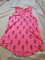 Old Navy Rayon Coral Pink Paisley Printed V- Neck Sleeveless Women's Large Tunic