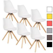 6 x Esszimmerstühle Küchenstuhl mit Rückenlehne Holz Kunstleder Weiß BH52ws-6