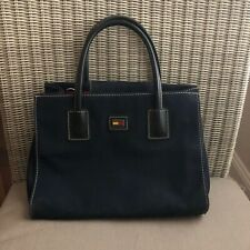 Vintage Women's TOMMY HILFIGER Small Logo Canvas Tote Bag Navy Blue small s