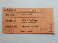 Disneyland Vintage Original B Ticket Coupon 1970's - Excellent Condition!!