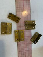 """Vintage Salvage heavy brass Hinges Lot of 5 continuous stop 1.5""""  x 1.25"""""""
