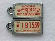 1967 QUEBEC EXPO67 Vintage Mini License Plate WAR AMPS KEY TAG PAIR # 1B1 559