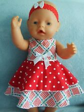 "17"" baby born dolls clothes / DRESS & HEADBAND / red spots & checks"