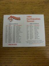 1984 elenco di impianti: San Jose Earthquakes-Pagina quattro CARD. grazie per la visualizzazione TH