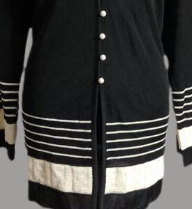 Fendi Authentic Vintage 90s FF Logo Cardigan Sweater Black Silk Blend US Large