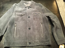 NWT $995 Robert Comstock Blue Distressed Suede Jean-Style Jacket Large