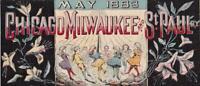 May 1883 Chicago Milwaukee St Paul Railway Victorian Trade Card Children Dancing
