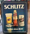 VINTAGE SCHLITZ BEER METAL ADVERTISING SIGN CAN BOTTLE GLASS MILWAUKEE WI