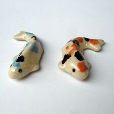 Orange Tiny Ceramic Cute ฺCARP KOI FISH Home Decor Gift Miniature Garden decor