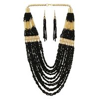 MultiStrand Gold Tone Beauty Necklace Black Seed Beads Earring Long Handcrafted