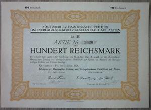 Aktie, Königsberger Hartungsche Zeitung 1928, (Art.3194)