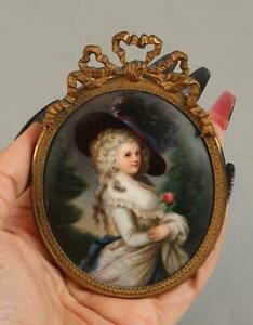 Antique Miniature 19thC French Miniature Porcelain Painting Mademoiselle & Rose