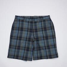 PATAGONIA Organic Cotton Flat Front Casual Shorts Blue Plaid Mens 35