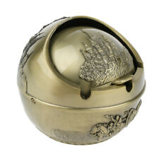 Vintage Metal Spherical Windproof Ashtray with Lid for Car Hotel Home Gift L