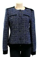 Tommy Hilfiger Blue & Black Button-Snap Front Tweed Suit Jacket Women's NWT