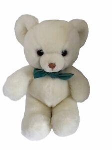 Vintage Gund 1983 White Teddy Bear Green Velvet Bow Tender Teddy