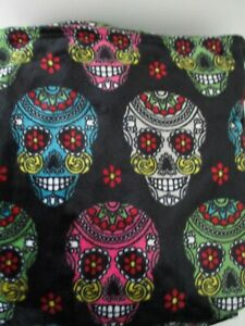 """Day of the Dead Sugar Skull Plush 60"""" X 70"""" Throw Blanket By Spookville New"""