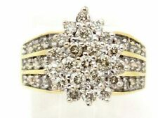 Illusion Right Hand Ring 1.98ct 9.1g 10k Yellow Gold Round Diamond Cluster Pear