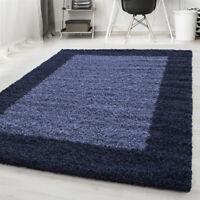 Navy Fluffy Rug Deep Pile Shaggy Modern Pattern Round Mat Bedroom Lounge Carpet