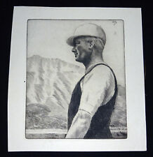 1930 Hawaii Etching Print Polo Player in Profile by John Melville Kelly (Kel)