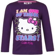NUEVO Camisa Camiseta de chica jersey hello kitty Gris Púrpura 98 104 116 128