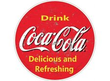 NEW Coca Cola Drink Red Large Round tin metal sign
