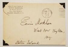 """Edwin Markham Signed Autographed 5.5"""" X 3.75"""" Envelope"""