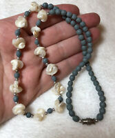#828 Vintage 1970s Rare Blue Coral Bead Necklace, Mother Of Pearl, Silver Beads
