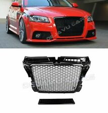 RS3 Look Front Grill Mesh Gloss Black DTM Honeycomb for Audi A3 8P S3 RS3 S line