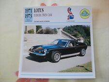 CARTE FICHE LOTUS EUROPA TWIN CAM