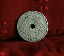 1939 Belgium 25 Centimes Copper-Nickel World Coin Belgie Dutch Crown Monogram