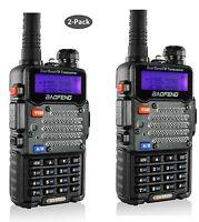 2-Pack Baofeng Black UV-5R V2+ Dual-Band VHF/UHF Two-Way HAM Radio Transceiver