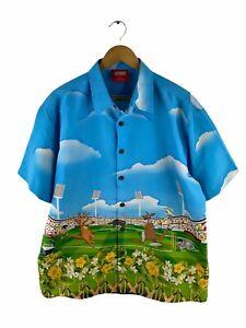 Lowes Button Up Hawaiian Shirt Mens Size L Blue Short Sleeve Kangaroo Cricket