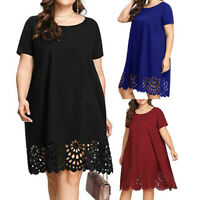 Women Summer Short Sleeve O-Neck Hollow Out Shirt Top Dress Casual Plus Size AU