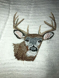 Embroidered Kitchen  Bar Mop Hand Towel   DETAILED BUCK FACE- BS1839