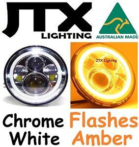 "1pr 7"" CHROME LED Headlights White Halo flash AMBER on turning Cadillac Calais"