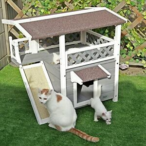 Petsfit Cat Wooden House, Waterproof House Cat Outdoor, Cat Outdoor Shelter with