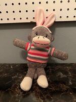 "Sock Monkey 11"" Pink Stripped Shirt Stuffed Soft Toy Easter Bunny Rabbit"