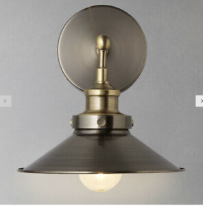 RRP£60 industrial John Lewis Croft Collection Tobias Wall Light Antique Nickel