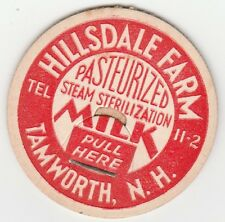 MILK BOTTLE CAP. HILLSDALE FARM. TAMWORTH, NH. DAIRY. REPRODUCTION