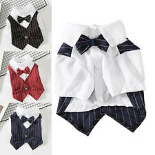 Gentleman Pet Dog Clothes Wedding Suit Formal Shirt Bowtie Tuxedo Outfit Costume