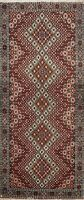 Geometric Tebriz Hand-knotted Runner Rug Wool Oriental Staircase 3'x7' Carpet