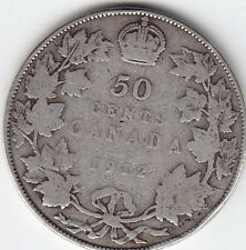 1912 Canada Sterling Silver 50-Cent Half Dollar Coin